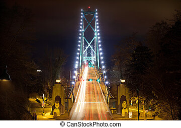Lions Gate Bridge Entrance at Night - Lions Gate Bridge...