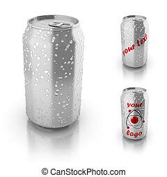 blank aluminium can with water drops isolated over white,...