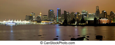 Vancouver BC City Skyline at Night - Vancouver BC Canada...