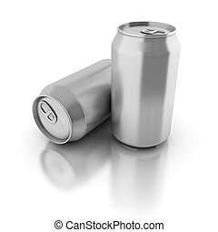 blank aluminium cans on a white background