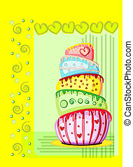 Bright birthday cake. Postcard with place for your text