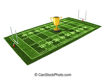 American football field isolated on white background with...