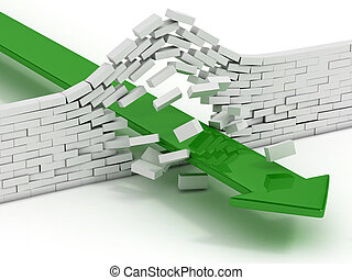 arrow breaking brick wall abstract 3d illustration - power...