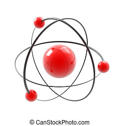 atom on white - atom 3d illustration isolated on white