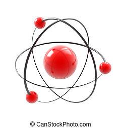 atom on white - atom 3d illustration isolated on white