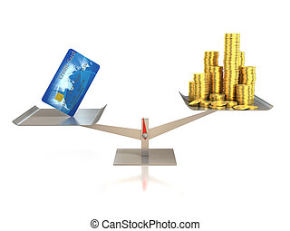 credit card and golden coins on balance scale 3d...