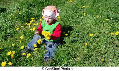 girl on meadow - small girl on meadow with dandelion