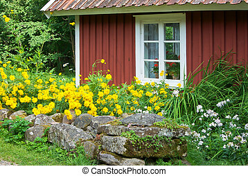 Red cottage - Old swedish small wooden cottage and stone...