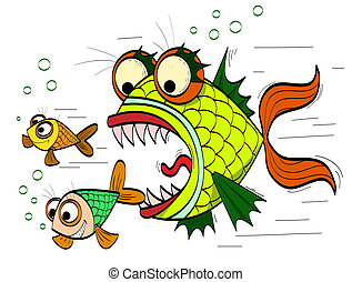 angry fish - angry toothed fish chasing small fish