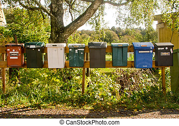 Swedish Letter Boxes - Row of eight letter boxes