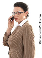 Business woman with glasses when ph
