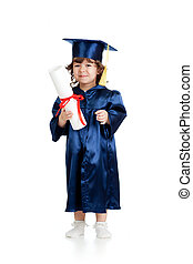 Adorable child in academician clothes with roll - Adorable...
