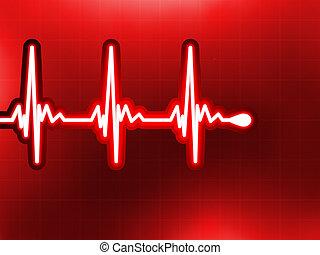 corazón, cardiograma, él, profundo, rojo, EPS,...