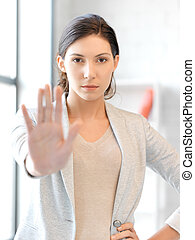 Elaboración, mujer, parada, gesto