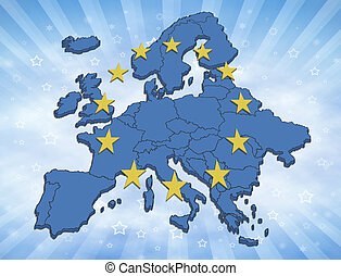 European Union - Map of the Europe with blue color and...
