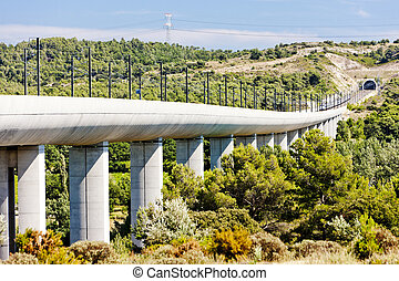 railway viaduct for TGV train near Vernegues, Provence,...