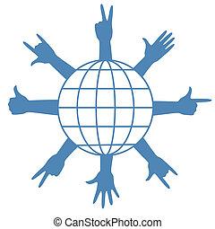 finger signs around globe