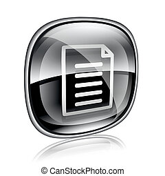 Document icon black glass, isolated on white background