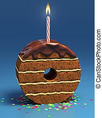 number zero shaped birthday cake