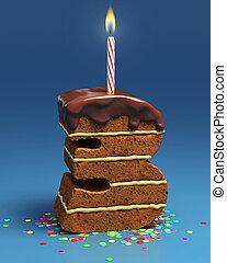 number three shaped birthday cake