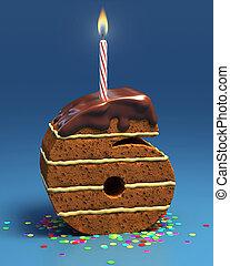 number six shaped birthday cake