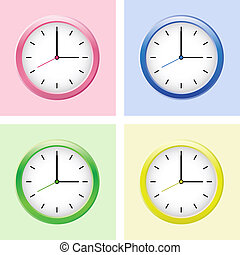 Multicolored clock set. Vector illustration.