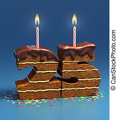 number 25 shaped birthday cake - Chocolate birthday cake...