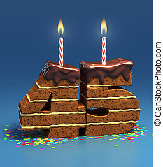 number 45 shaped birthday cake - Chocolate birthday cake...
