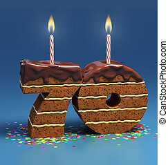 number 70 shaped birthday cake - Chocolate birthday cake...
