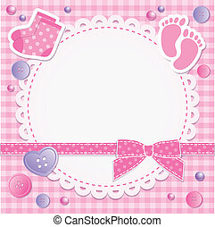 baby frame with pink bow and stickers