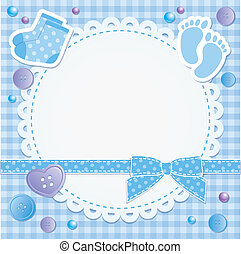 baby frame with blue bow and stickers