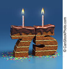 number 75 shaped birthday cake - Chocolate birthday cake...