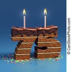 number 75 shaped birthday cake - Chocolate birthday cake...