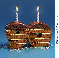 number 90 shaped birthday cake - Chocolate birthday cake...