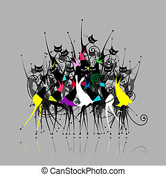 Catwoman party, vector illustration for your design