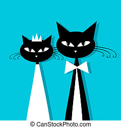 Groom and bride, cat's wedding for your design