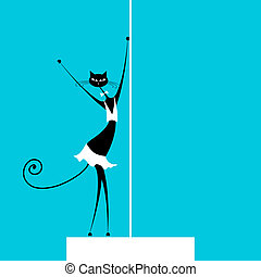 Graceful cat dancing, vector illustration for your design