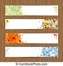 Four seasons - spring, summer, autumn, winter Banners with...