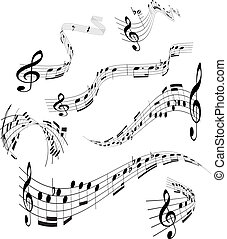 Set of musical notes staff - Set of curling, vector musical...