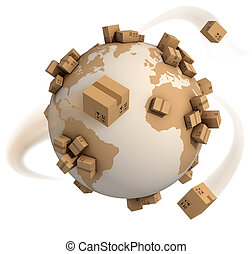 cardboard boxes around the world - global shipment 3d...