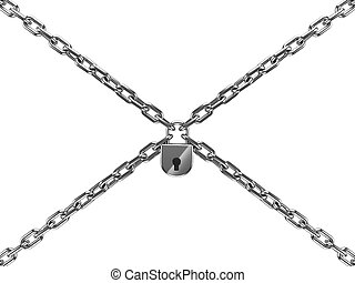 chains with lock isolated on white background