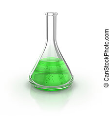 Laboratory glassware filed with green liquid over the white...