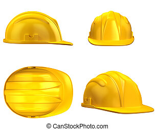 construction helmet from different views 3d illustration