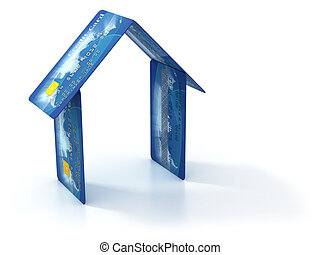 house made of credit cards - real estate 3d concept