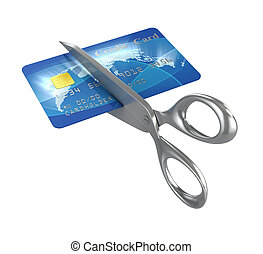 scissors cutting credit card 3d illustration