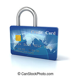 credit card padlock 3d concept illustration