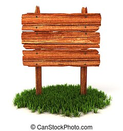 old wooden billboard on the grass i