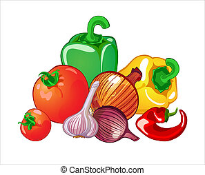 vegetables - Harvest of vegetables, tomatoes, paprika,...