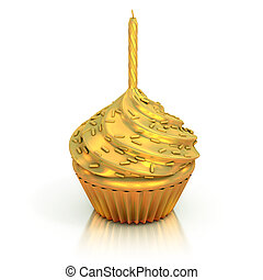 golden cupcake 3d rendering - best cupcake trophy