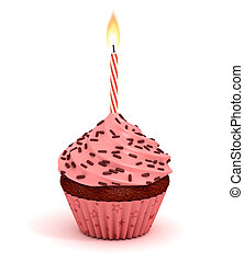 cupcake 3d illustration - birthday dessert with lit candles...